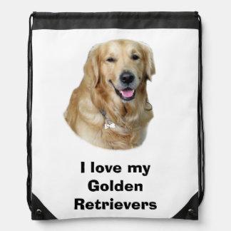 Golden Retriever dog photo portrait Drawstring Bag