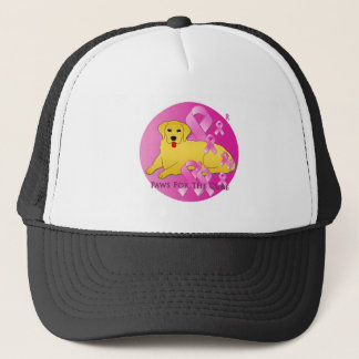 Golden Retriever Dog Pink Ribbon Trucker Hat