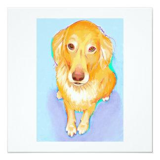 Golden retriever dog portrait cute pet fun artwork 13 cm x 13 cm square invitation card