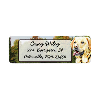 Golden Retriever Dog  Return Address Label
