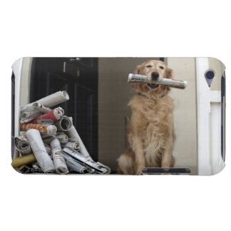 Golden retriever dog sitting at front door iPod touch case
