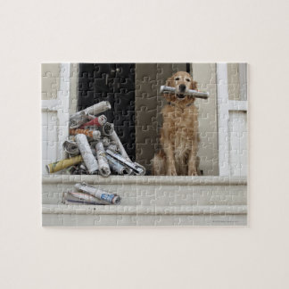 Golden retriever dog sitting at front door jigsaw puzzle