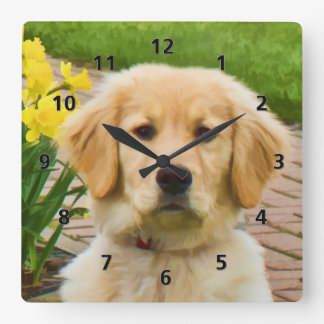 Golden Retriever Dog Square Wall Clock
