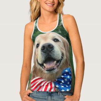 Golden Retriever Dog Stars and Stripes Patriotic Tank Top