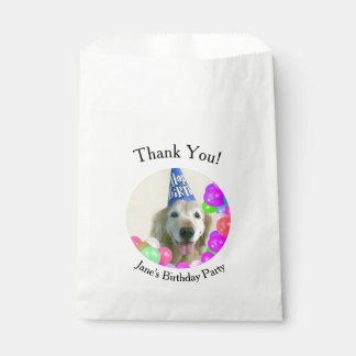 Golden Retriever Dog With Balloons Birthday Favour Bags