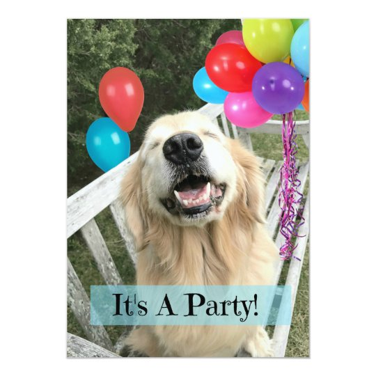 Golden Retriever Dog With Balloons Custom Birthday Card