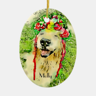 Golden Retriever Dog With Flower Crown Watercolor Christmas Ornament