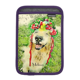 Golden Retriever Dog With Flower Crown Watercolor iPad Mini Sleeve