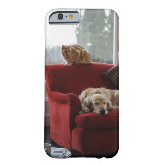 Golden retriever dog with ginger tabby cat barely there iPhone 6 case