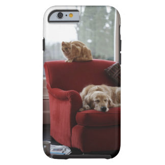 Golden retriever dog with ginger tabby cat tough iPhone 6 case
