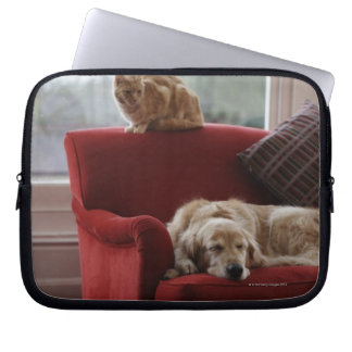 Golden retriever dog with ginger tabby cat laptop sleeve