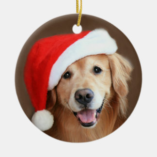 Golden Retriever Dog With Red Santa Hat Christmas Ornament