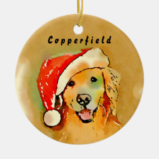 Golden Retriever Dog With Red Santa Hat Watercolor Christmas Ornament