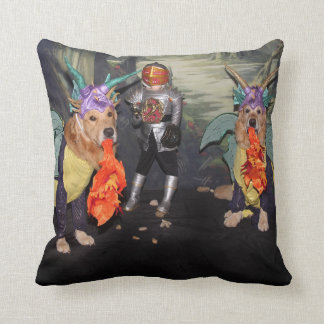 Golden Retriever Dragons Fighting a Knight Cushion