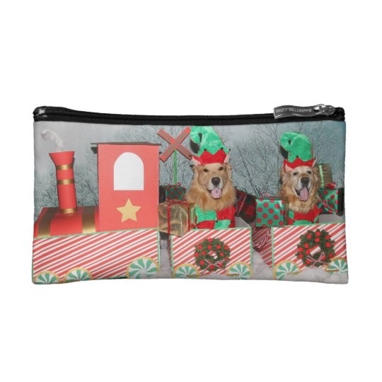 Golden Retriever Elves on Christmas Train Cosmetic Bag