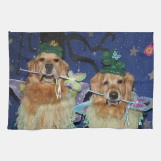 Golden Retriever Fairies Tea Towel
