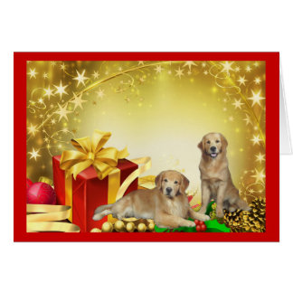 Golden Retriever Father & Son Christmas Card