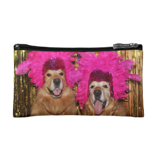 Golden Retriever Feathered Showgirls Cosmetic Bags