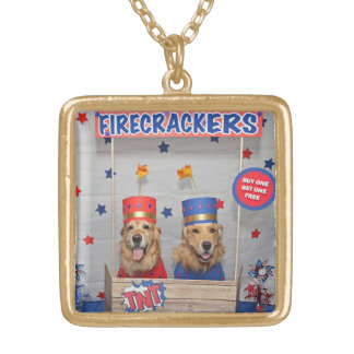 Golden Retriever Firecrackers For Sale Gold Plated Necklace