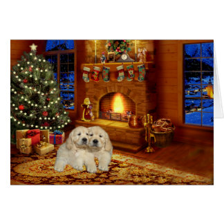 Golden Retriever Fireplace  Christmas Card