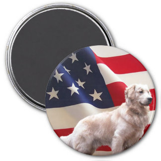 Golden Retriever Flag Magnet