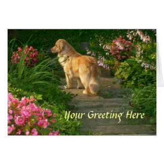 Golden Retriever Garden Greeting Card