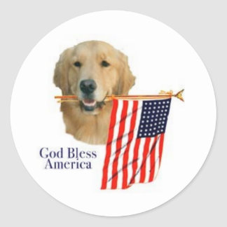 Golden Retriever God Bless America Sticker