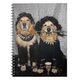 Golden Retriever Goth Style Notebook