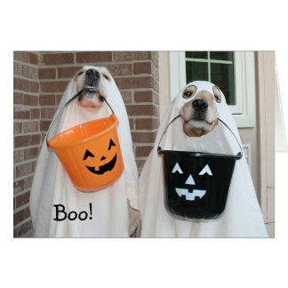 Golden Retriever Halloween Ghosts Card