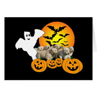 Golden Retriever Halloween Puppies Greeting Card