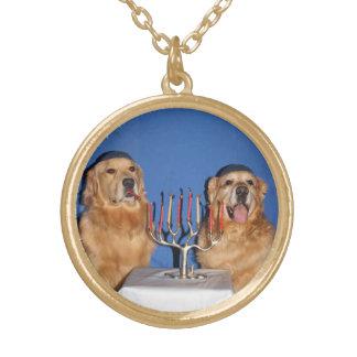 Golden Retriever Hanukkah Menorah Lighting Round Pendant Necklace