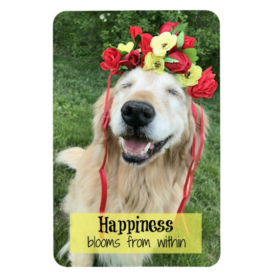 Golden Retriever Happiness Blooms From Within Rectangular Photo Magnet