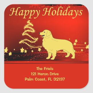 Golden Retriever Happy Holidays Address Sticker