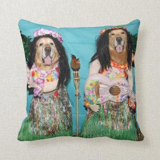 Golden Retriever Hawaiian Hula Dancers Cushion