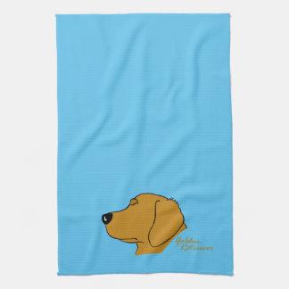 Golden retriever head silhouette tea towel