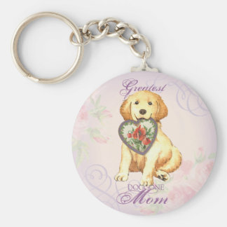 Golden Retriever Heart Mom Basic Round Button Key Ring