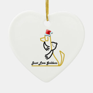Golden Retriever Heart Ornament, Just Love Goldens Christmas Ornament