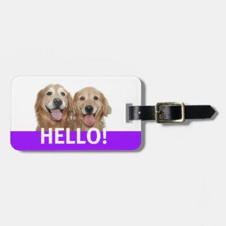 Golden Retriever Hello Luggage Tag