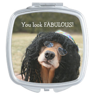 Golden Retriever Hippie Makeup Mirror