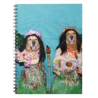 Golden Retriever Hula Dancers Spiral Note Book