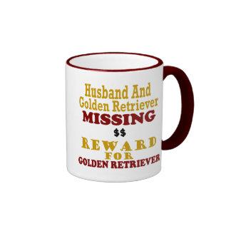 Golden Retriever & Husband Missing Reward For Gold Ringer Mug