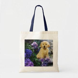 Golden Retriever Hydrangea Tote Bag