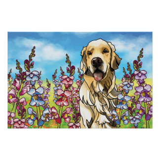 Golden Retriever in a Meadow of Snapdragons Poster
