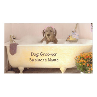 Golden Retriever In Bath Tub Groomer Business Card