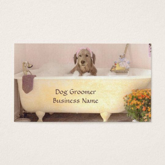 Golden Retriever In Bath Tub Groomer Business Card