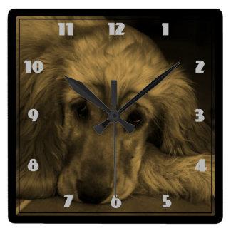 Golden Retriever in Sepia Tones Clock