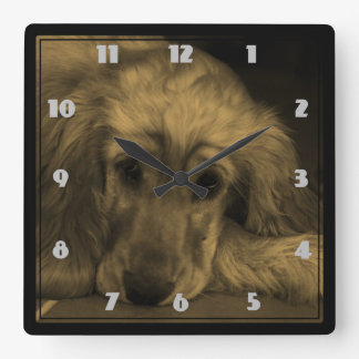 Golden Retriever in Sepia Tones Square Wall Clock