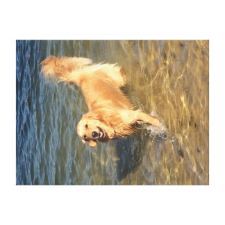 Golden retriever in the Ocean Canvas Print