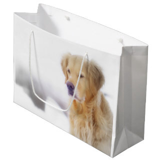 Golden Retriever in the Snow Large Gift Bag