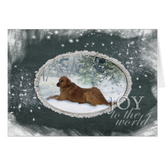 Golden Retriever - Joy To The World (Green) Card